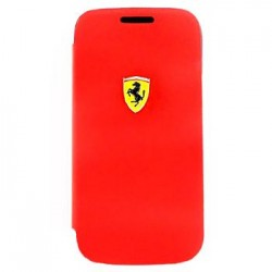 Samsung i9190 Galaxy S4 Mini FESCRUFLHS4MRE Ferrari Rubber Leather Book Case red