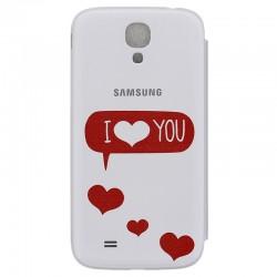 Samsung i9500 EF-FI950BWILOVE Book Case white ilove
