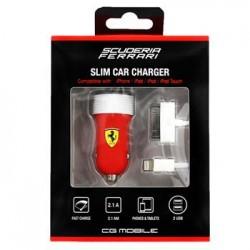 Ferrari Rubber MicroUsb Dual Car Charger 2.1A black