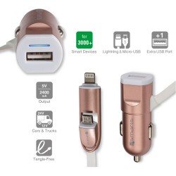 4smarts MultiCord MicroUSB+Lightning Car Charger rose gold