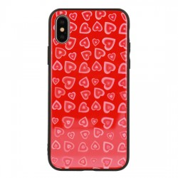 Apple iPhone X/XS Vennus Heart Glass Silicone Red