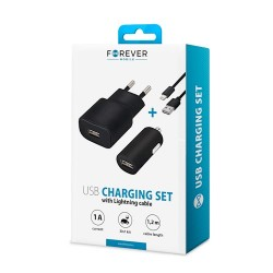 Forever Lightning Cable+Set Usb Charging 1A