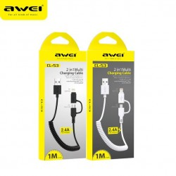 Awei Fast Charger Cable 2.4A 2 in 1 White 1m