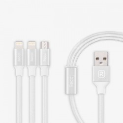 Recci RCS-H120 MicroUsb-2xLightning FastCharger Cable 3in1 White 1.2m