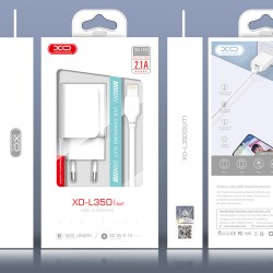 XO L35D Travel Lightning 2xUsb 2.1A Fast Charging white