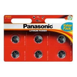 Panasonic CR2025 Λιθίου Μπαταρία 6τεμ
