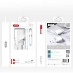 XO L52 Travel Adapter 2Usb+Type-C Cable 2.1A White