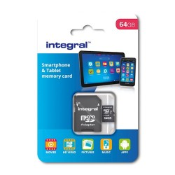 Integral microSD Card 64GB+Adapter Class 10 UHS-I U1 Smartphone and Tablet
