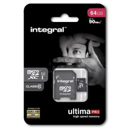 Integral microSD Card 64GB+Adapter Class 10 Up to 90MB/s
