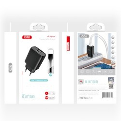 XO L57 Travel Adapter 2Usb+MicroUsb Cable 2.4A Black